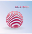 3d striped ball icon sphere logo with lines vector image vector image