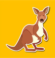 a kangaroo character sticker vector image vector image
