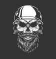 bearded and mustached baseball player skull vector image vector image