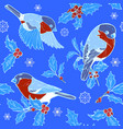 bullfinches and holly vector image vector image