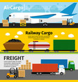 cargo transportation banners logistics sea air vector image vector image