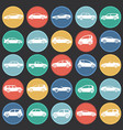 cars collection set on color circles black vector image