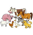 cartoon farm animal characters group vector image vector image