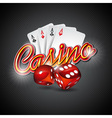 casino with dices and poker card vector image