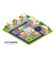 city district shops composition vector image vector image