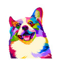 colorful happy dogs smile beautifully with pop vector image vector image