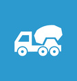 concrete mixer icon white on the blue background vector image vector image
