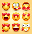 emoji smiley with red heart set valentines vector image