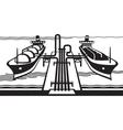 Gas tank terminal with LNG cargo ships vector image vector image