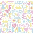 Gentle baby pattern with words and inscriptions vector image vector image