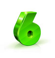 glossy green six 6 number 3d on vector image vector image