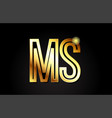 gold alphabet letter ms m s logo combination icon vector image