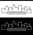 greensboro skyline linear style editable file vector image vector image