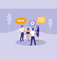 group business people with speech bubble vector image