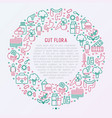 gut flora concept in circle with thin line icons vector image
