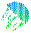 halftone blue-green jellyfish icon vector image vector image