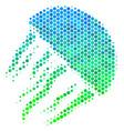 halftone blue-green jellyfish icon vector image