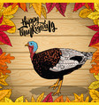 happy thanksgiving border from autumn leaves on vector image