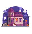 haunted halloween ghost house scene in flat vector image vector image