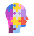 human profile concept man head made up puzzle vector image vector image