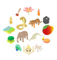 india icons set isometric 3d style vector image