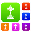 irish celtic cross set color collection vector image vector image