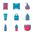 jar icons set cartoon style vector image