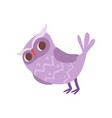 lovely funny cartoon purple owlet bird character vector image vector image