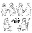 monochrome hand-drawn set of cute cats vector image