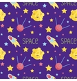 Outer Space Cartoon Seamless Pattern vector image