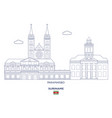paramaribo city skyline vector image