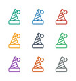 party hat icon white background vector image vector image
