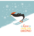 penguin skiing down a mountain slope vector image vector image
