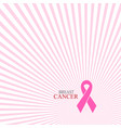 pink breast cancer ribbon background vector image