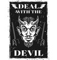 poster with horned devil head vector image vector image