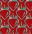 Retro 3D red and green wavy cut strawberry vector image vector image