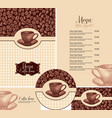 set design elements for coffee house with hand vector image vector image