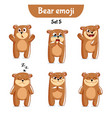 set of cute bear characters set 5 vector image vector image