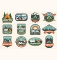 set summer camp badges concept vector image vector image