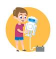 smart kid making robot catroon vector image