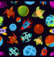 space seamless pattern with spaceships vector image vector image