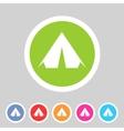 Tourist tent flat icon web sign symbol logo label vector image vector image