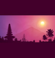 violet foggy sunset with balinese temple palm vector image vector image