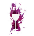 wine glass in front colorful grunge splashes vector image vector image