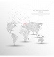 world map digitally drawn low poly triangle wire vector image