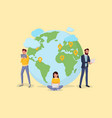 world map with people to people connection vector image