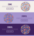zodiac signs concept with thin line icons vector image vector image