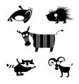 comic animal silhouettes vector image
