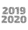 2019-20 year sign set with abstract pattern vector image vector image