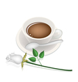 A Cup of Hot Coffee and White Rose vector image vector image